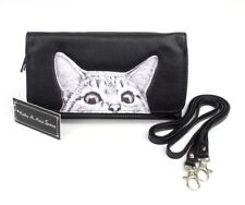 Peeking Cat Crossbody Bag Purse Black Vegan Faux Leather Wallet Organizer