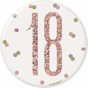 """UNIQUE - AGE 18 - 18TH BIRTHDAY BADGE - ROSE GOLD AND WHITE - 3"""""""