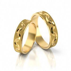 1 Paar Trauringe Gold 333 - sandmattiert / poliert / graviert - Breite 4mm - TOP