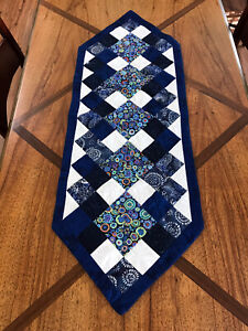 Hand Made Quilted Table Runner Navy And White 12 X 35