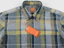 Men's HUGO BOSS ORANGE Green Yellow Brown Plaid Shirt Medium M NWT NEW CalifoE