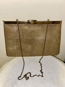 Vintage Etra Purse Pebbled Embossed Snakeskin Leather Clutch Antique Bag purse