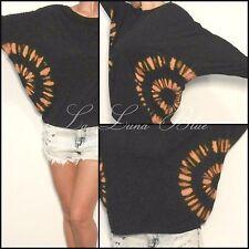 NEW Free size mandala print L/S top. Tie-dye black & orange. Boho gypsy
