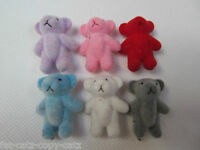 "SMALL CUTE TINY MINIATURE DOLL HOUSE CRAFT TEDDY BEARS 6 COLOURS 1.4"" TALL UK"