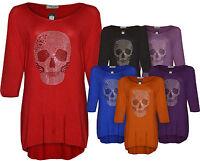 Ladies Women New Skull Plus Size Top Dress Tunic Studded Long T-Shirt Size 14-24