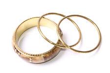Great Ladies Set Of Three Brass Colour Bracelets One w Brownish Pattern (T468)