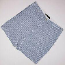Berle Mens Seersucker Shorts 36 Flat Front Blue Striped White Short Cotton Size