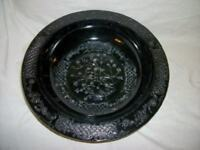 Antique Black Amethyst Glass Footed Embossed Bowl Estate Chic Paris Apt Shabby