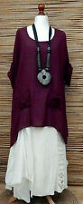 LAGENLOOK LINEN AMAZING OVERSIZE 2 FLOWERS POCKETS QUIRKY TOP***BEET***Size XXL