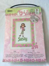 "Bucilla So Girly! Counted Cross Stitch Sassy Stitched SZ 4""x7.75"" #43927 NEW"