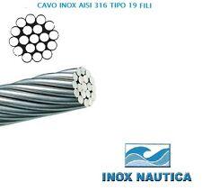 CAVO FUNE IN ACCIAIO INOX AISI 316 FILI 19 RIGIDO 4 MT PREFORMATI E LUCIDATI