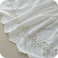 Milk White Cotton Embroidered Flowers Lace Cloth Dress Fabric Sewing 53'' Width
