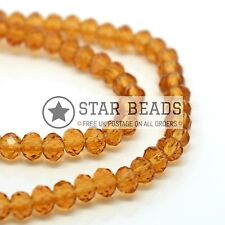 90-100PCS FACETED RONDELLE CRYSTAL GLASS BEADS DARK TOPAZ 4MM