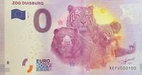 BILLET 0  EURO ZOO DUISBURG 2 ALLEMAGNE  2017  NUMERO 100