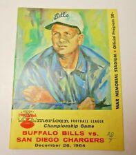 1964 AFL WORLD CHAMPIONSHIP PROGRAM SAN DIEGO CHARGERS BUFFALO BILLS RARE