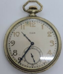 Antique Working 1925 ELGIN 17J Art Deco Gold G.F. Gents Open Face Pocket Watch