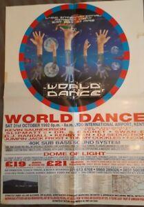 world dance poster 31.10.92 lydd airport rave flyer (61cm x 42cm)