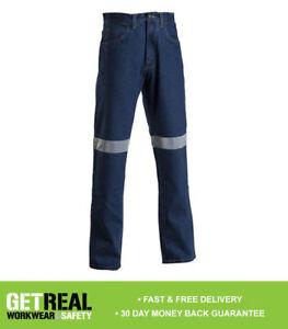 Ball Tearer - Mens Workwear Jean Pant Stretch w Tape Stone Wash Denim  (BT261)