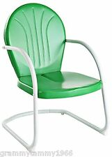 Vintage Spring Rocking Chair Metal Retro Lawn Patio Garden Deck Green  Furniture