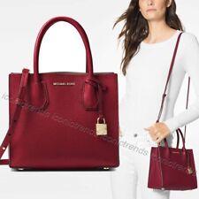 NWT🌹Michael Kors Mercer Medium Messenger Pebble Leather Shoulder Bag Maroon Red