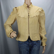 Vtg Ms Pioneer Golden Collection Suede Leather Tan Jacket Sz 14 Ruffles Western