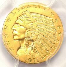 1911-D Indian Gold Quarter Eagle $2.50 Coin (Weak D) - PCGS AU Detail - Key Date