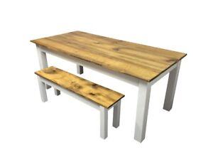Barn Wood & White Farm Table (Rustic Harvest Farmhouse Kitchen Dinning Table)