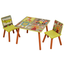 KIDS JUNGLE ANIMAL THEME TABLE and CHAIRS SET Childrens Fun Themed Furniture Zoo