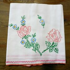 New listing * Linens Towel Dish 100% Linen Vintage Embroidered Pink Rose Rana'S Usa Seller