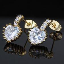 Orecchini a forma di cuore chiusura farfalla Zirconia Bianco 750er placcato oro