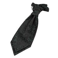 DQT Woven Swirl Black & Green Formal Wedding Pre-Tied Boys Cravat FREE Pin