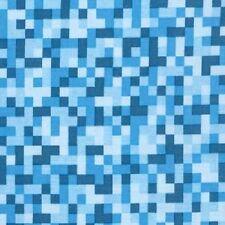 Fat Quarter BITMAP Azul Pixels 100% algodón acolchada Tela Michael Miller