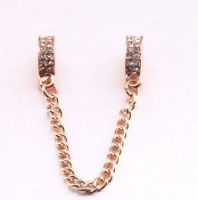 ROSE GOLD PLATED CRYSTAL SAFETY CHAIN STOPPER FOR BRACELET