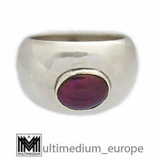Modernist 925 Sterling Silber Ring Granat Cabochon silver garnet 🌺🌺🌺🌺🌺