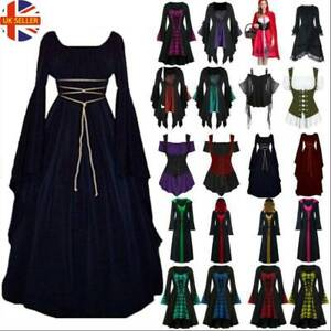 Women Gothic Medieval Witch Vampire Cosplay Clothes Fancy Dress Halloween Party