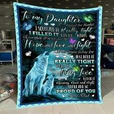 Dad To Daughter - Wolf - I Hugged This Blanket - Fleece Blanket