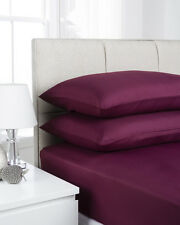 Plain Dyed Microfiber Single Fitted Bed Sheet Aubergine Purple Fusion Ultra Soft