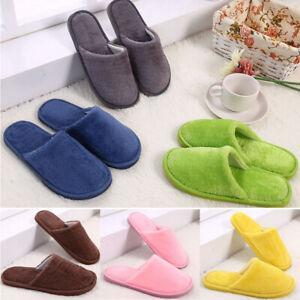 Womens Mens Plush Warm Slippers Anti-Slip Winter Indoor Round Toe Home Shoes