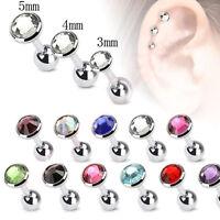 2X 3/4/5mm Gem Ball Bar Barbell Ear Cartilage Tragus Helix Stud Earring Piercing