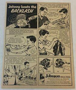1964 JOHNSON fishing reels+rods ad ~ JOHNNY BEATS THE BACKLASH