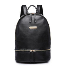 Women Faux Leather Shoulder School Backpack Handbag Travel Tote Bag Black