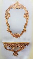 Miroir mural avec console or ovale ancien 49X33 baroque OVAL Miroir C443