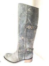 Charles David Italian Made Distressed GreyBuckle Knee Boots US8, Euro38.5, UK5.5