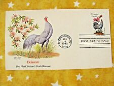 1982 STATE BIRDS & FLOWERS SERIES Delaware Blue Hen Chicken & P UNADRESSED Stamp