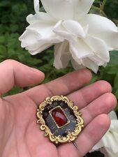 Antique Large Victorian Enamel Momento Mori Mourning Brooch Pinchbeck Old