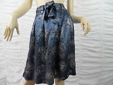 TABLE EIGHT blue floral print 100% silk A-line skirt size 10 BNWT