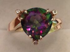 Fire Topaz/Diamond Large Trillion Cut Mystic Ring 10K  Yellow Gold Size 8 3/4