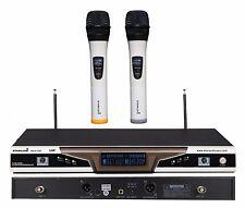 STARAUDIO White Dual 2Channel UHF Wireless Handheld DJ PA Club Microphone System