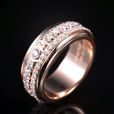1.4CT Natural Diamonds Engagement Band Rotatable Luxury Ring Solid 18K Rose Gold