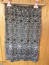 New Look Black And White Geometric Patterned Black Pencil Skirt - Size 12
